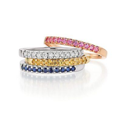 Memoire Ringe mit farbigen Edelsteinen vom Juwelier in Köln