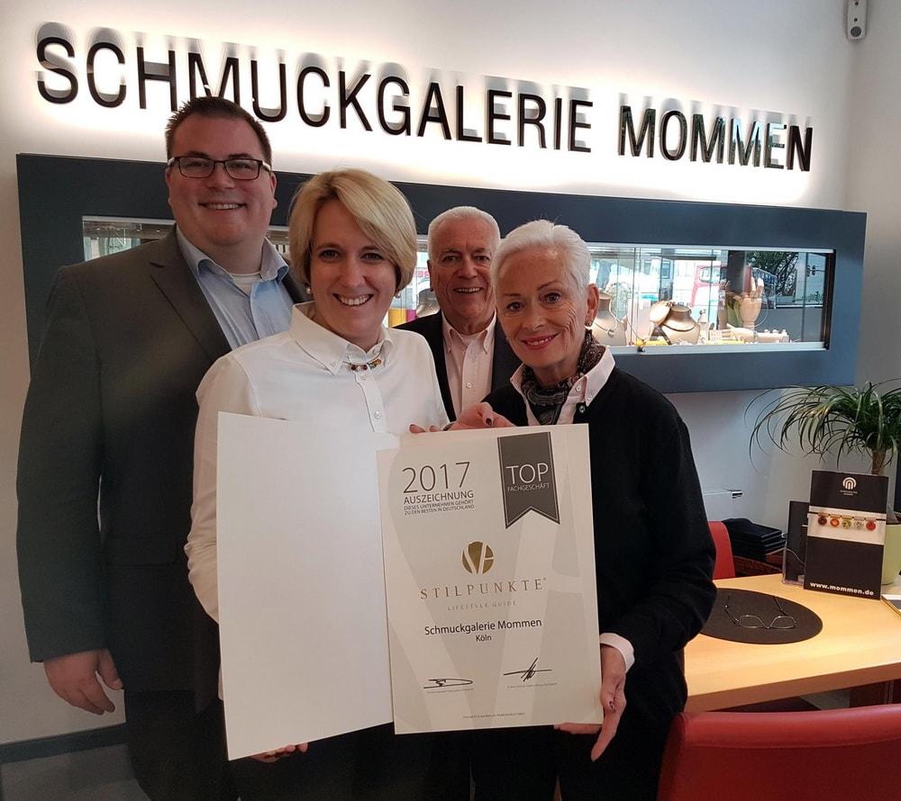 Schmuckgalerie Mommen als Top Juwelier in Köln ausgezeichnet