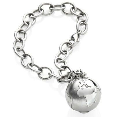 Weltkugel von schmuckwerk Armband Meine Welt in Edelstahl bei Juwelier Mommen am Neumarkt in Köln