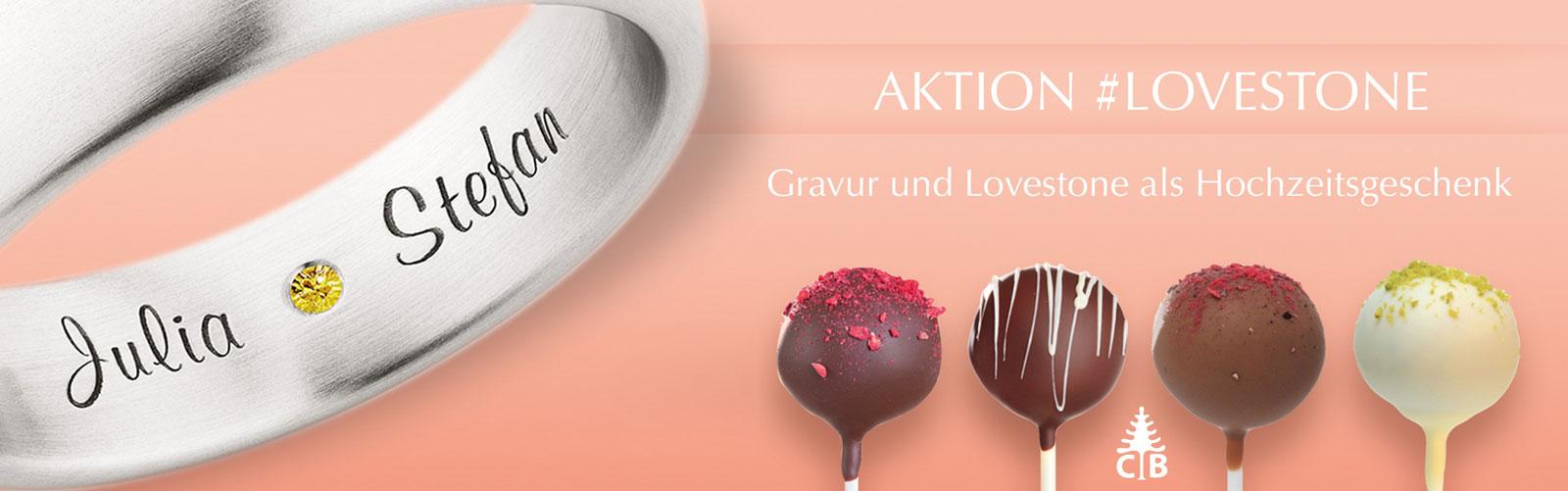 Lovestone als Geschenk zu Trauringen vn Juwelier Mommen am Neumarkt in Köln.