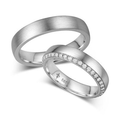 Klassische Eheringe mit Brillanten von Trauring-Juwelier Mommen am Neumarkt in Köln