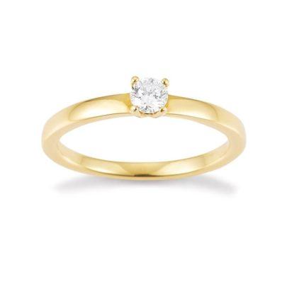 Verlobungsring mit 4er-Krappe in Gold von Juwelier Mommen in Köln.