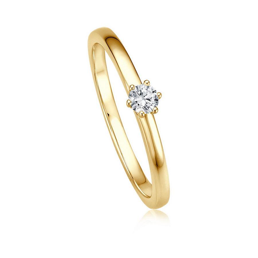 Verlobungsring mit 6er-Krappe in Gold von Juwelier Mommen in Köln.