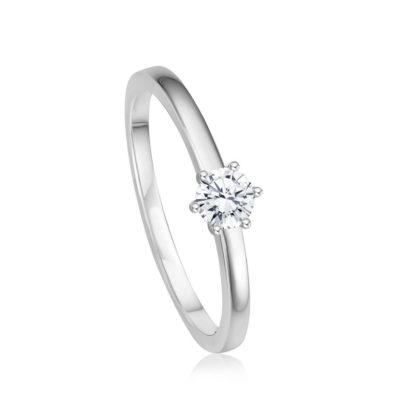 Verlobungsring mit 6er-Krappe von Juwelier Mommen in Köln.