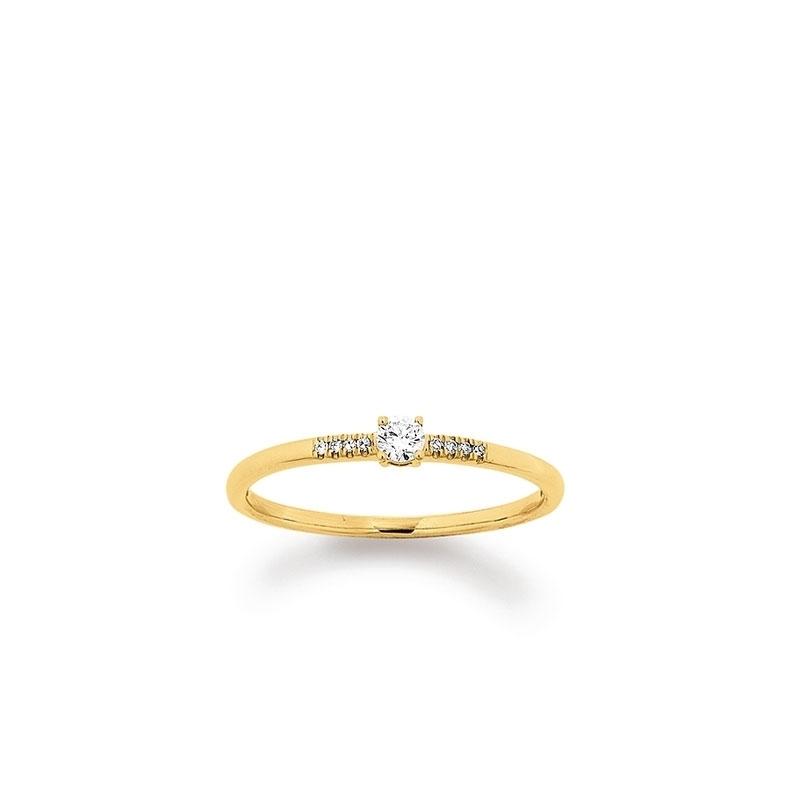Verlobungsring mit seitlichem Steinbesatz in Gold von Juwelier Mommen am Neumarkt in Köln.
