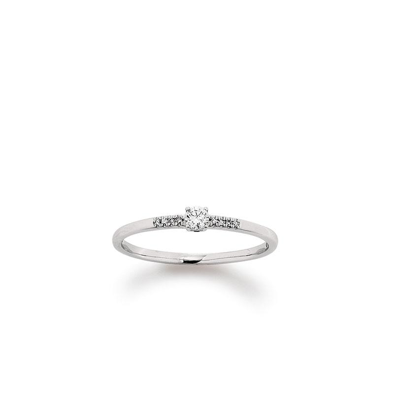 Verlobungsring mit seitlichem Steinbesatz von Juwelier Mommen am Neumarkt in Köln.