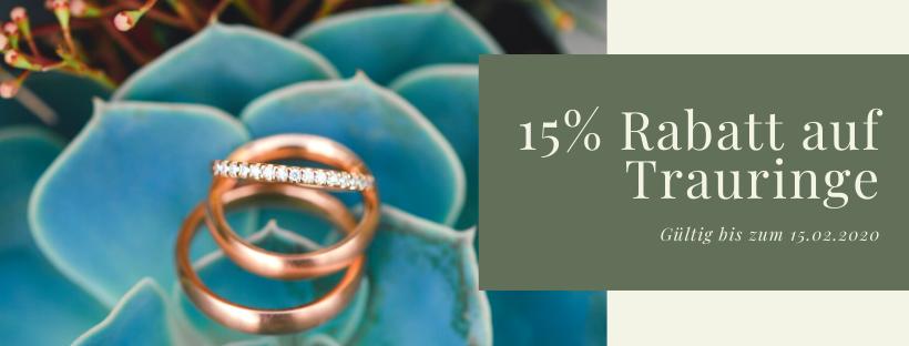 15% Rabatt auf Trauringe bei Juwelier Mommen in Köln.